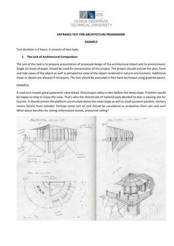 Entrance test example for programme of architecture @VGTU by Vilnius