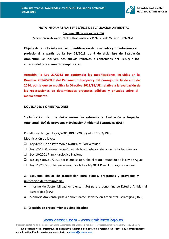 NOTA INFORMATIVA: LEY 21/2013 DE EVALUACIÓN AMBIENTAL by Elena ...