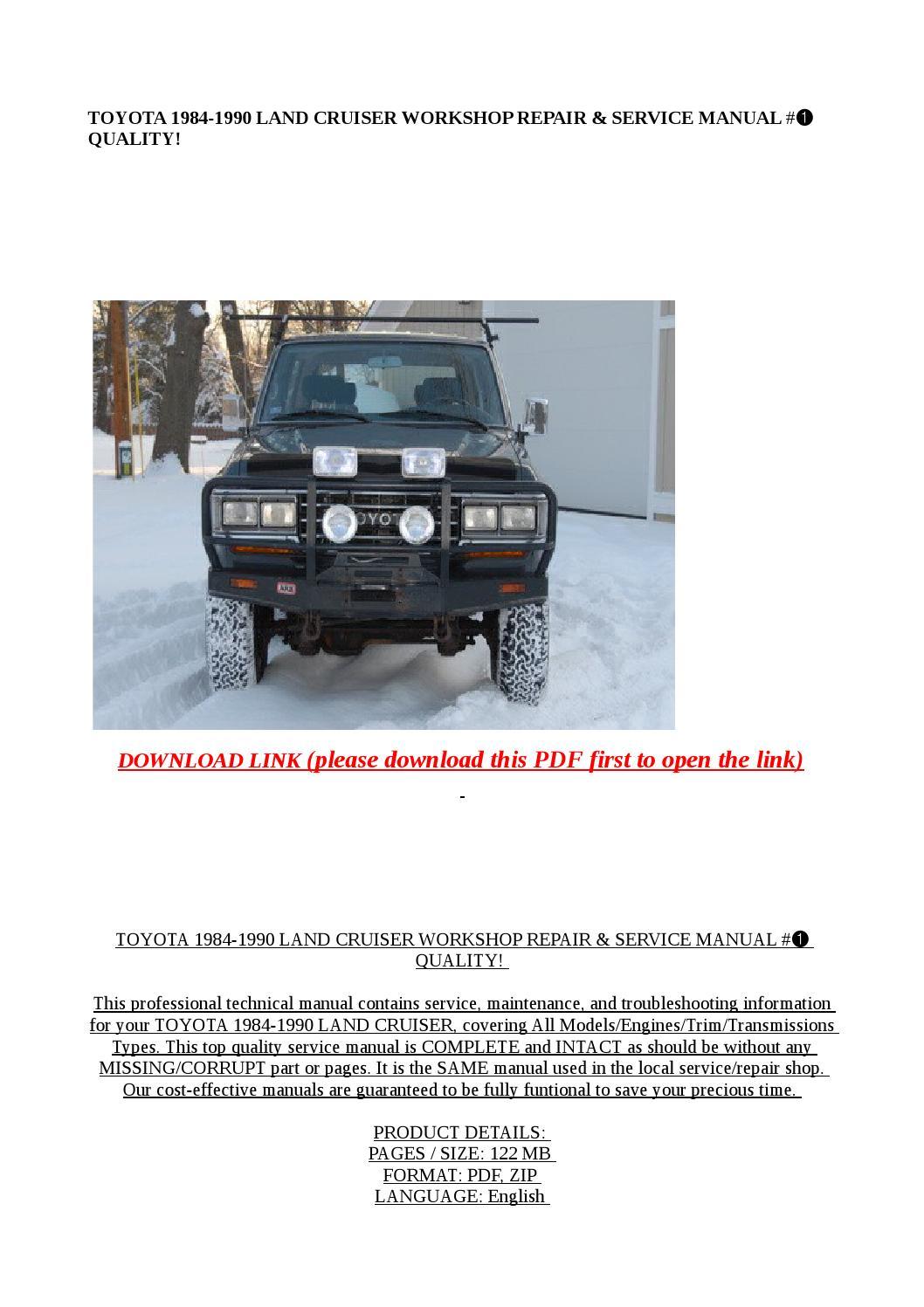 toyota land cruiser service manual download pdf