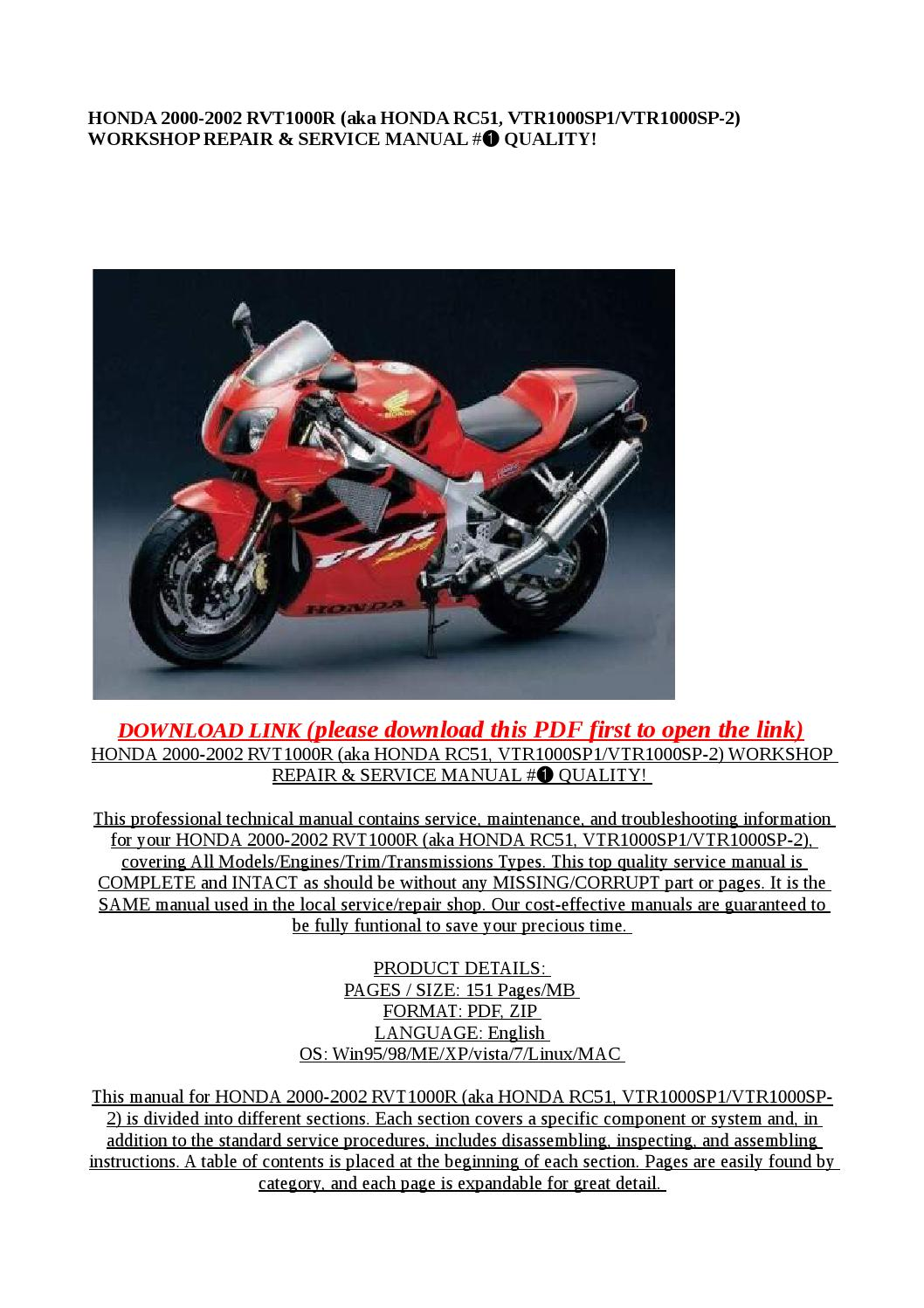 Honda 2000 2002 rvt1000r (aka honda rc51, vtr1000sp1 vtr1000sp 2) workshop  repair & service manual # by Mary Jane - issuu