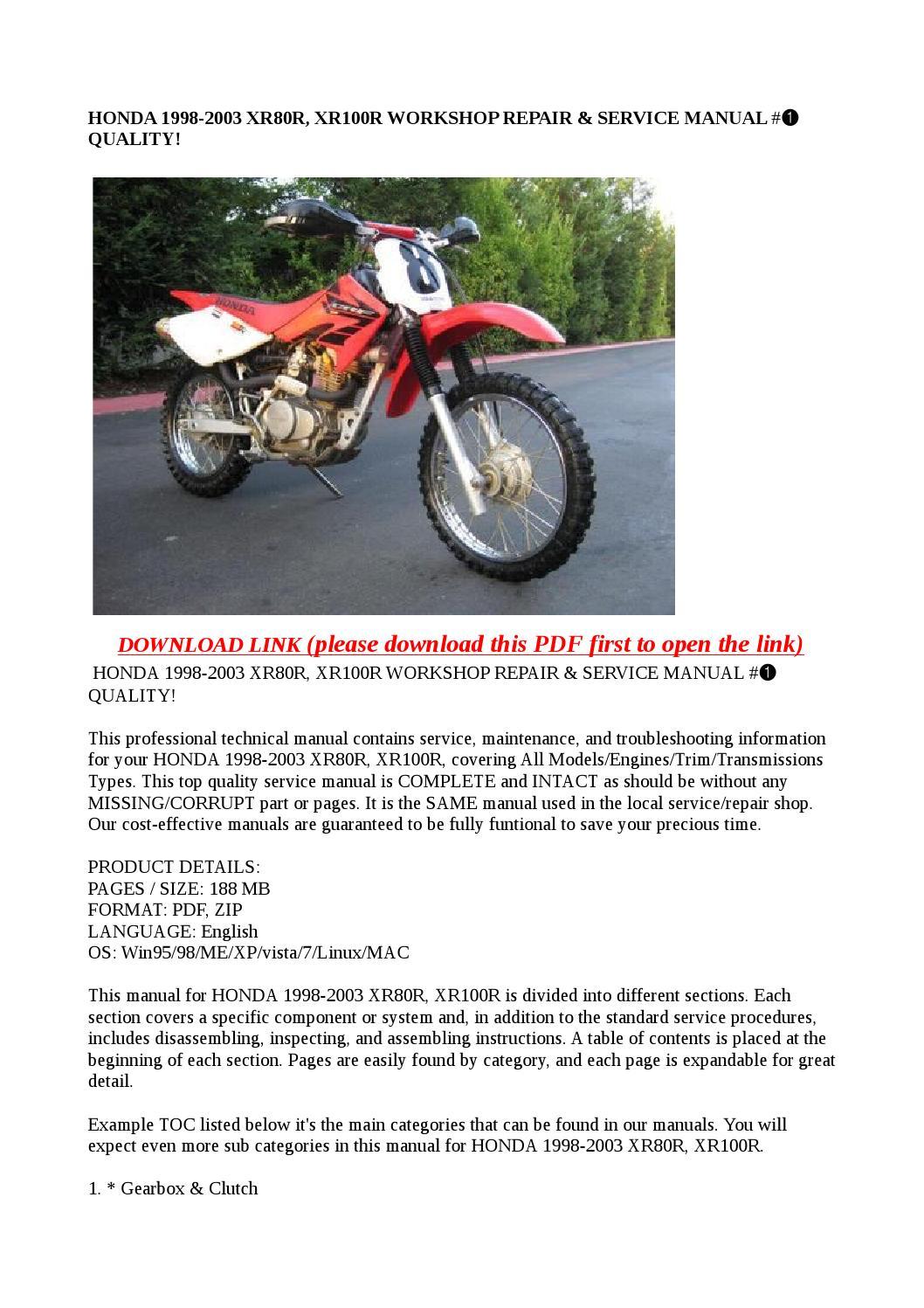 Honda 1998 2003 Xr80r  Xr100r Workshop Repair  U0026 Service