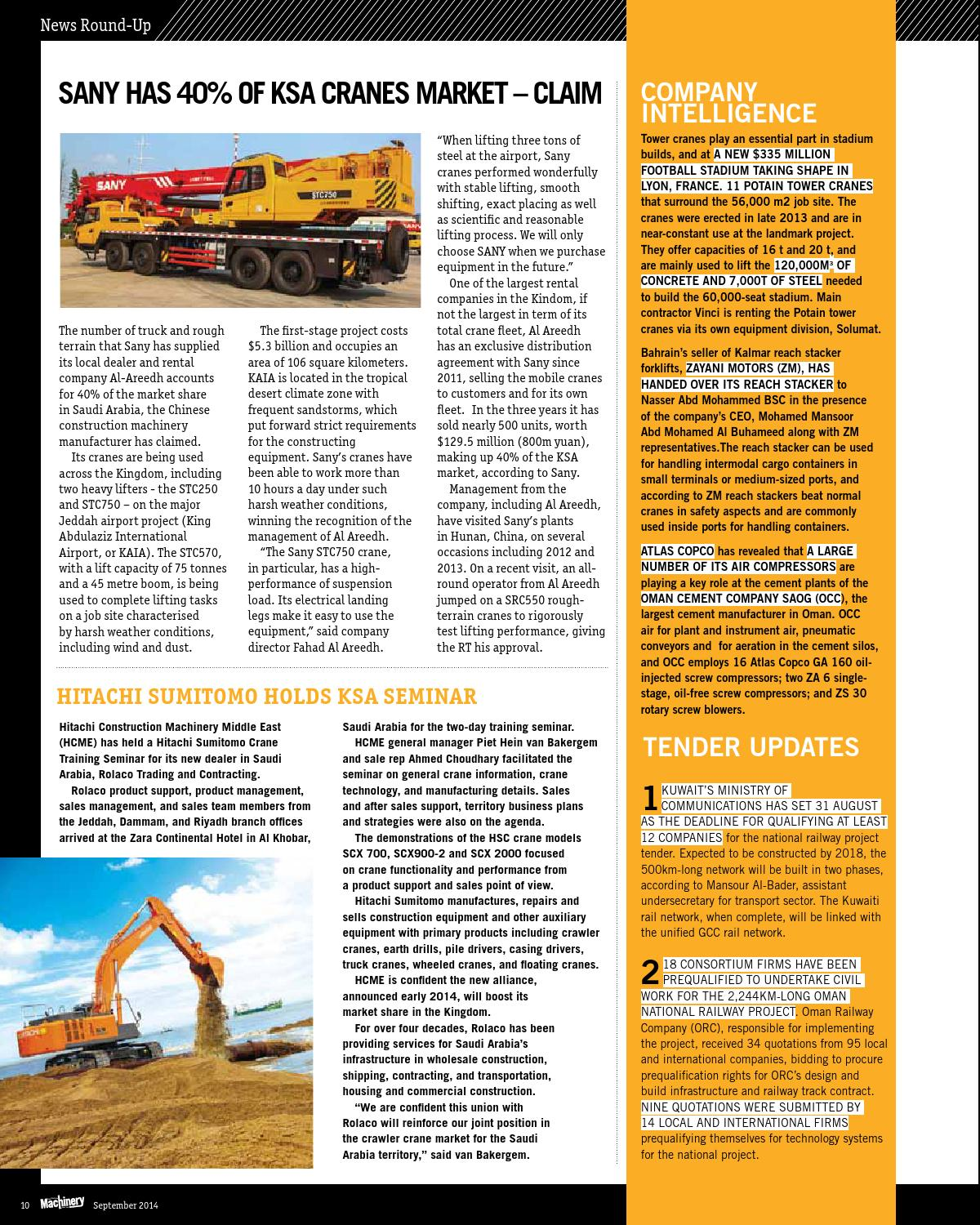 Construction Machinery ME September 2014 by Construction Machinery