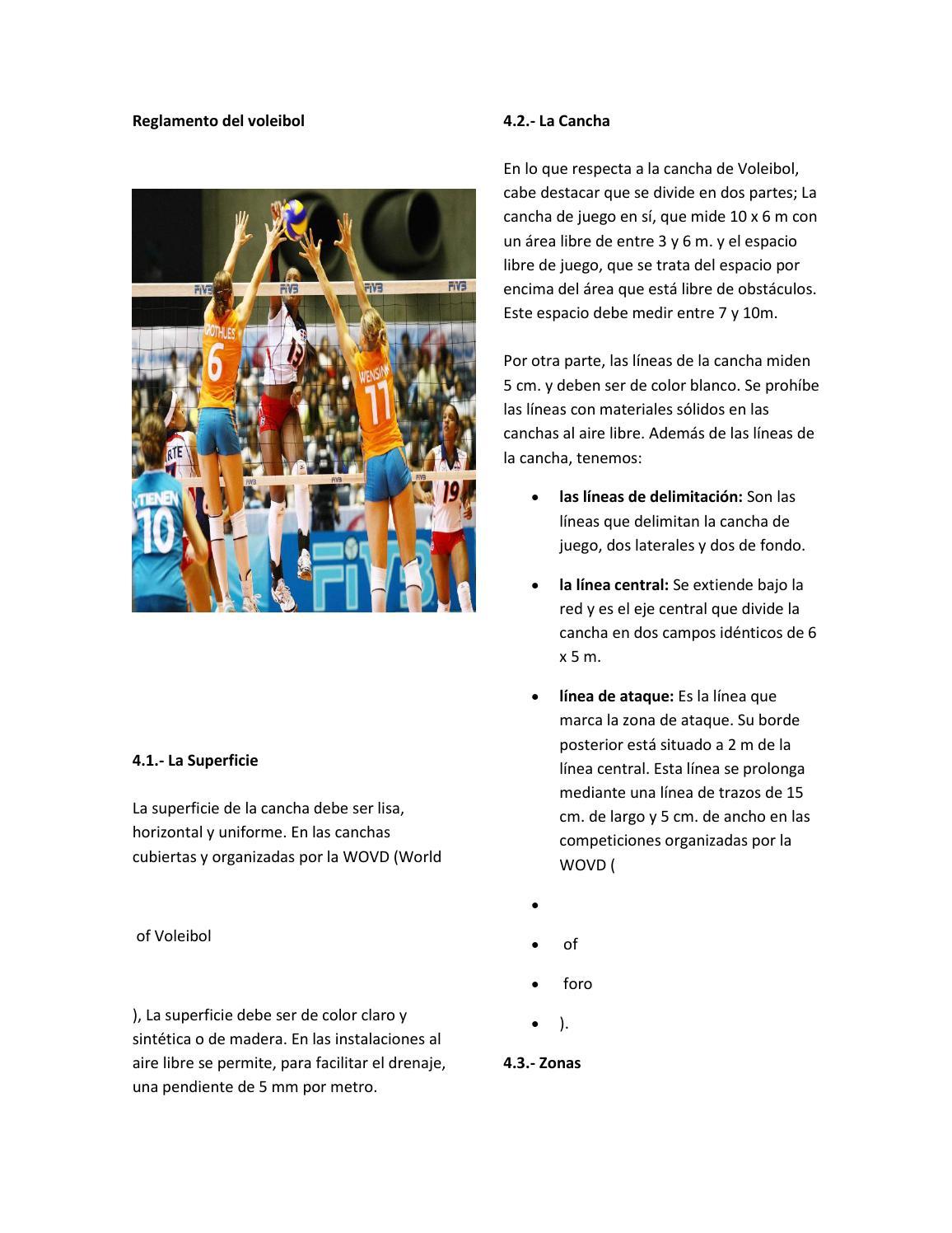 partes de la cancha del voleibol