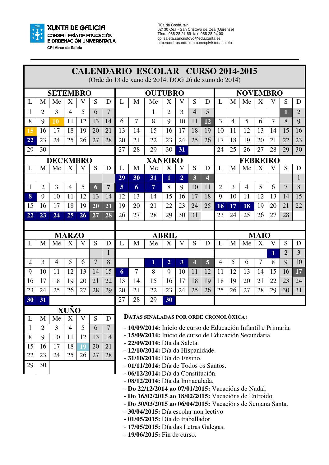 Calendario Escolar Xunta.Calendario Escolar 2014 2015 By O Cole De Cea Issuu
