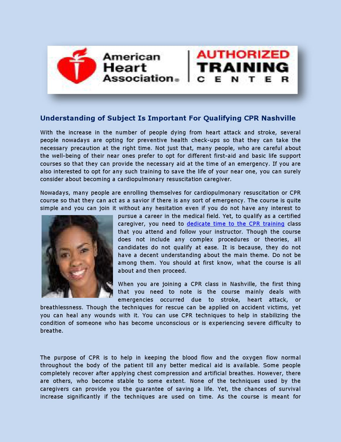 Understanding of subject is important for qualifying cpr nashville understanding of subject is important for qualifying cpr nashville by blsnashville issuu 1betcityfo Gallery