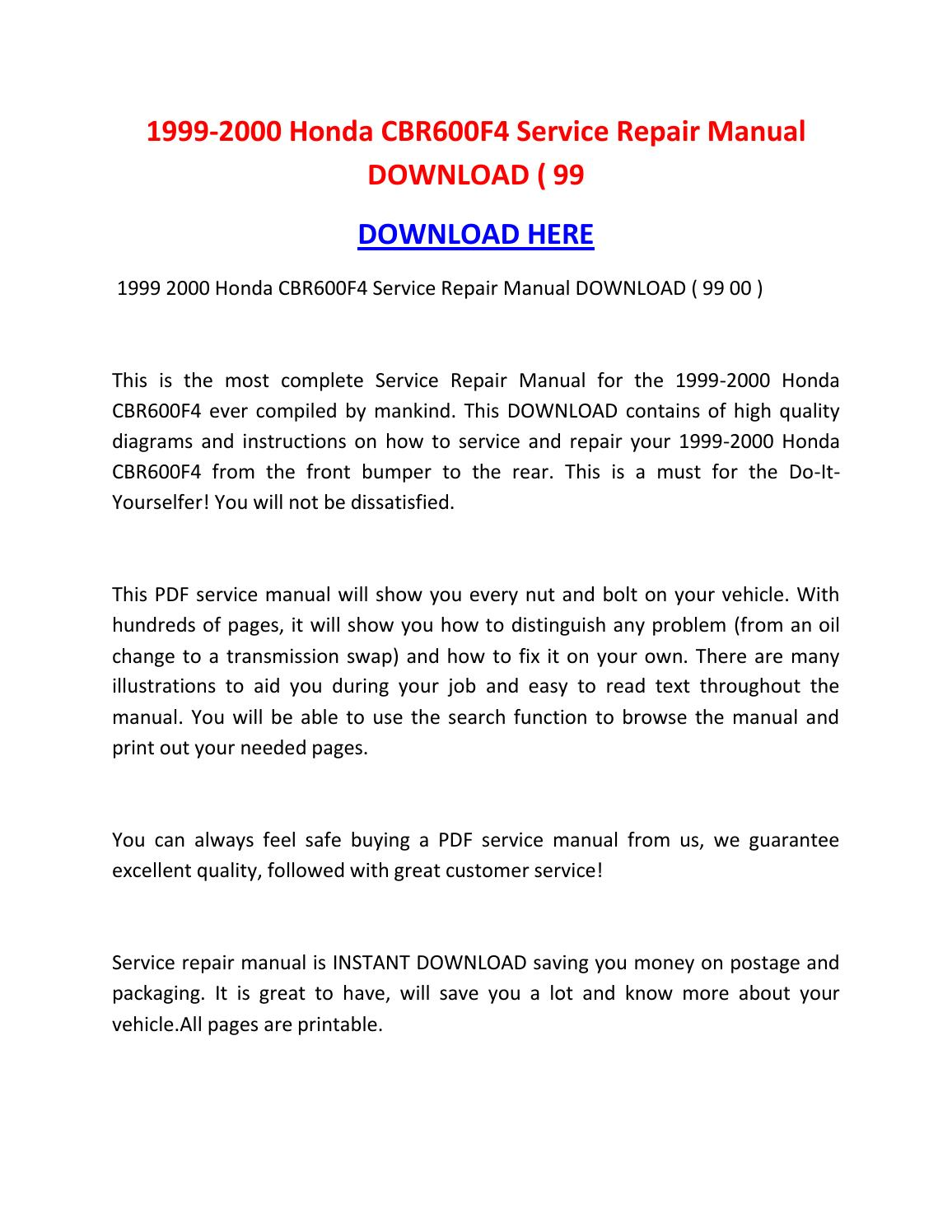 1999 2000 honda cbr600f4 service repair manual download. Black Bedroom Furniture Sets. Home Design Ideas
