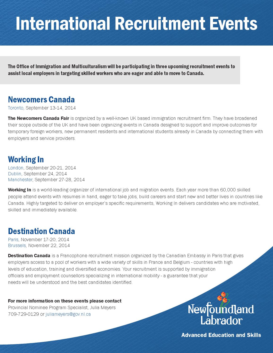 International recruitment events by Newfoundland and