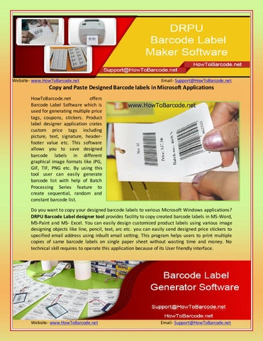 Copy and paste designed barcode labels in microsoft