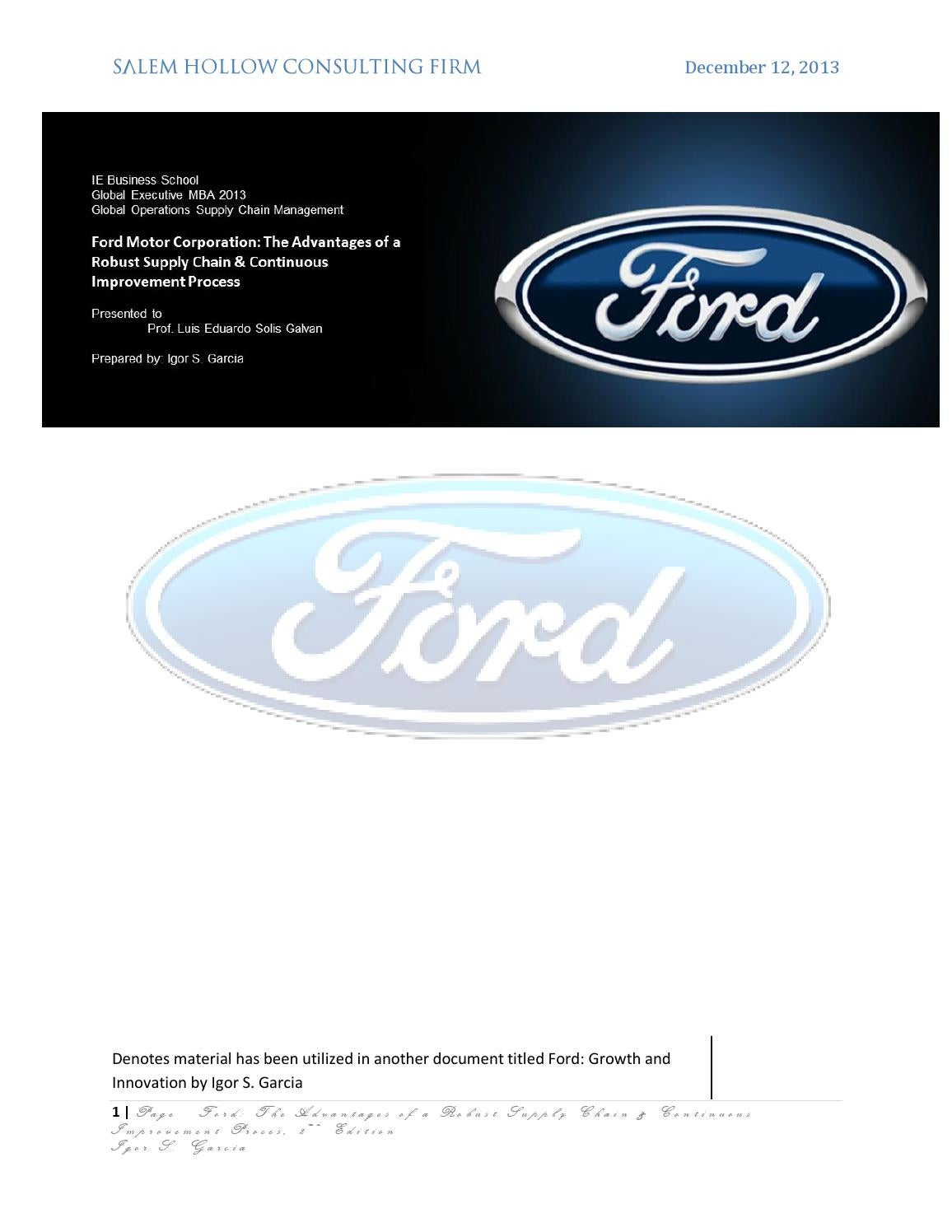 Ford supply chain management best chain 2018 for Ford motor company powerpoint template