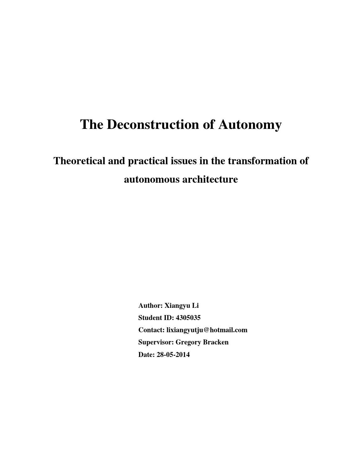 deconstruction thesis
