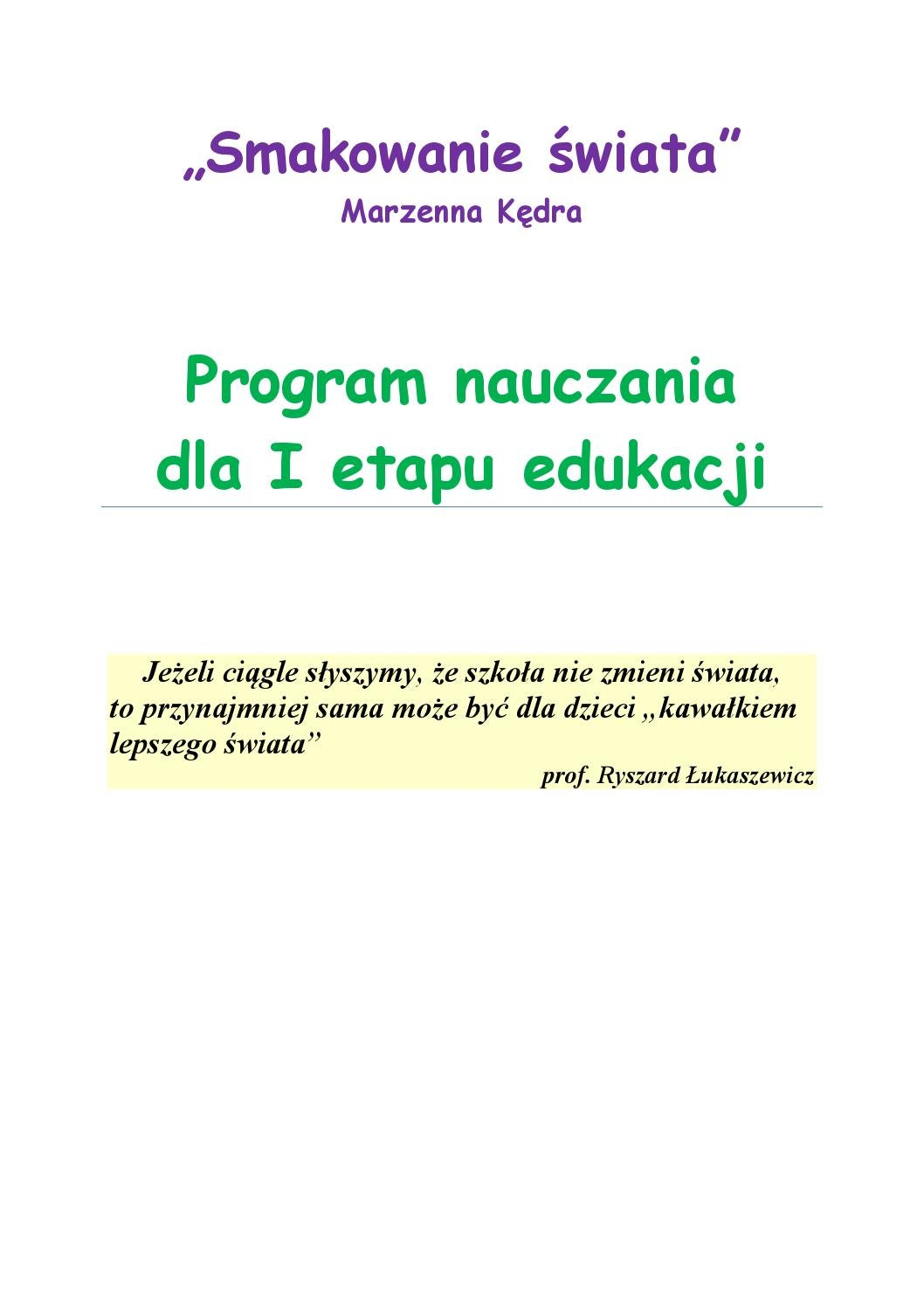 Smakowanie Swiata Program Nauczania Dla I Etapu Edukacji By