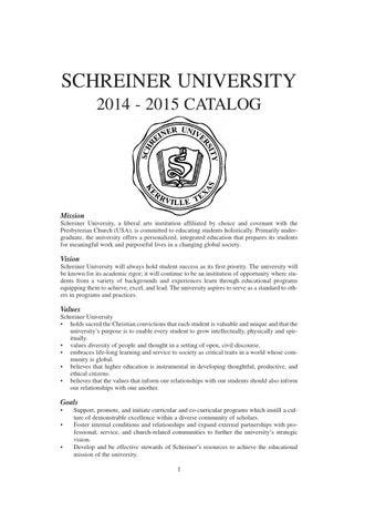 Schreiner University 2014-2015 Catalog by Schreiner