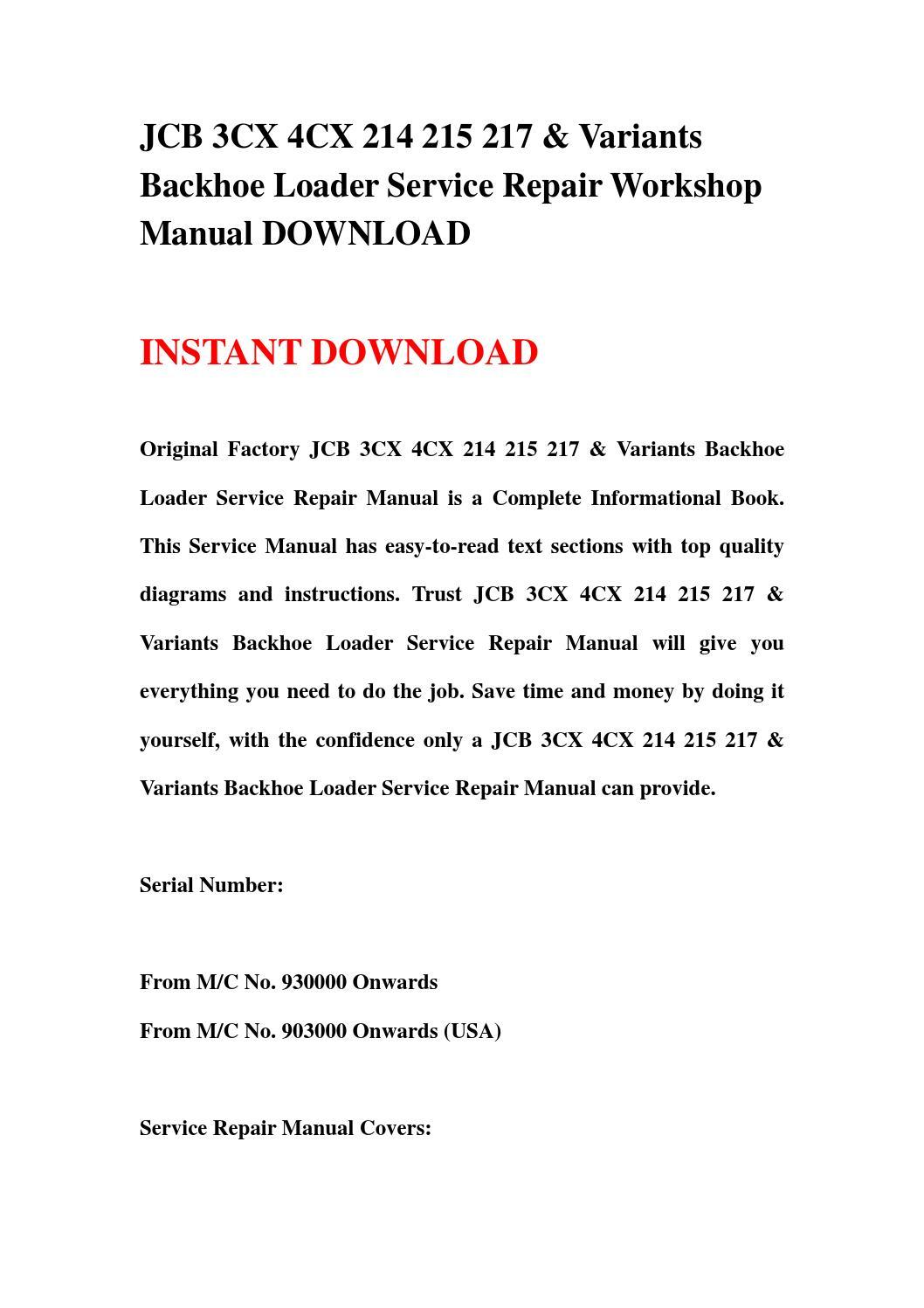 Jcb 3cx 4cx 214 215 217 & variants backhoe loader service repair workshop  manual download by fhhsgebfhn - issuu