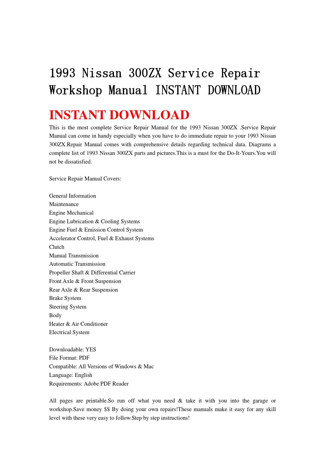1990 Nissan 300zx Service Manual And Wiring Diagram Free Pdf Manual
