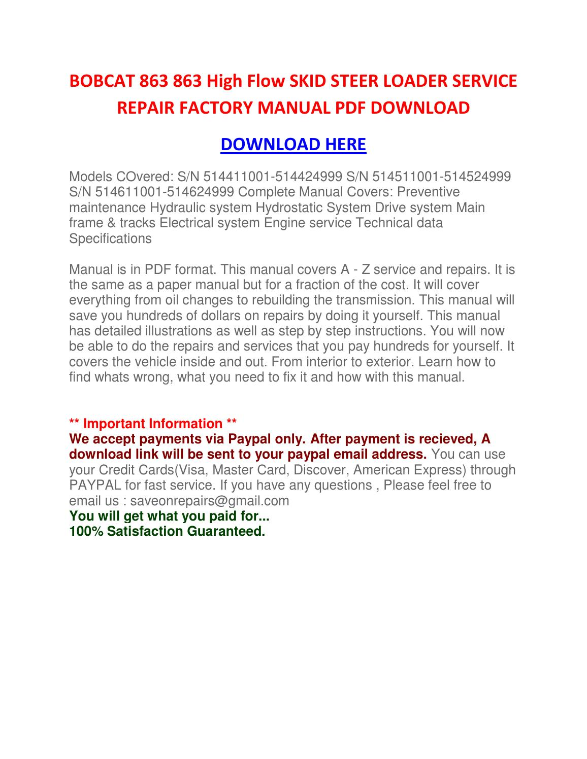 bobcat 863 service manual download