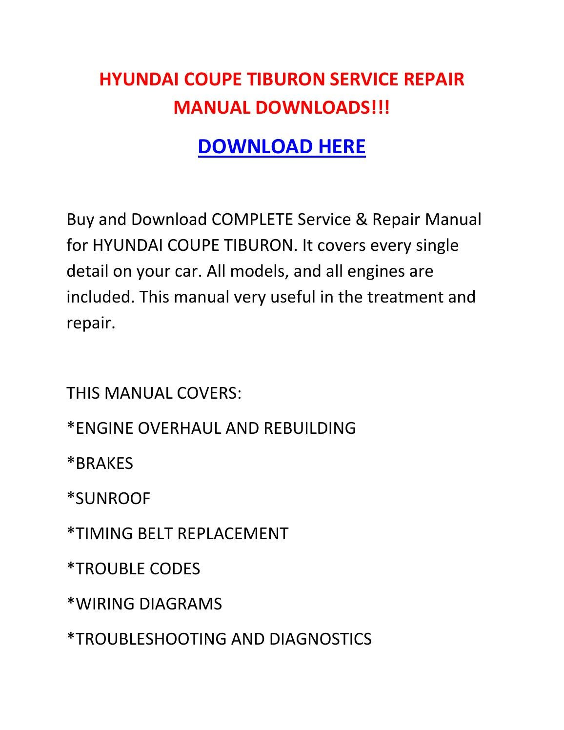 Hyundai Coupe Tiburon Service Repair Manual Downloads By