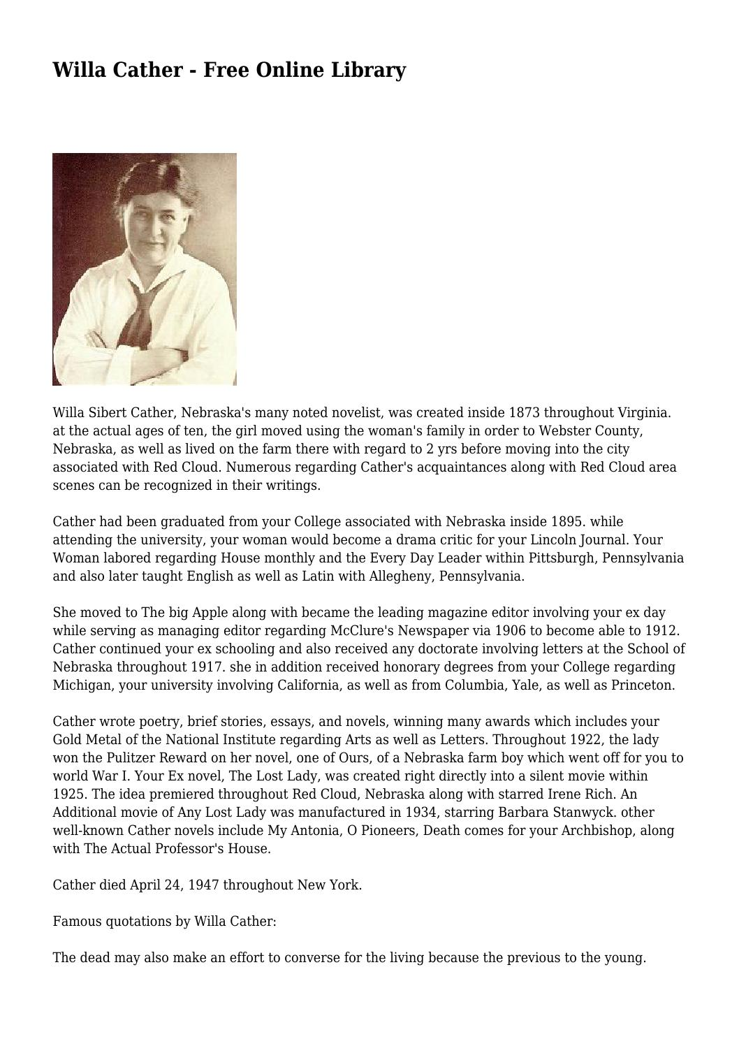 Willa Cather - Free Online Library by redundantnymph655 - issuu