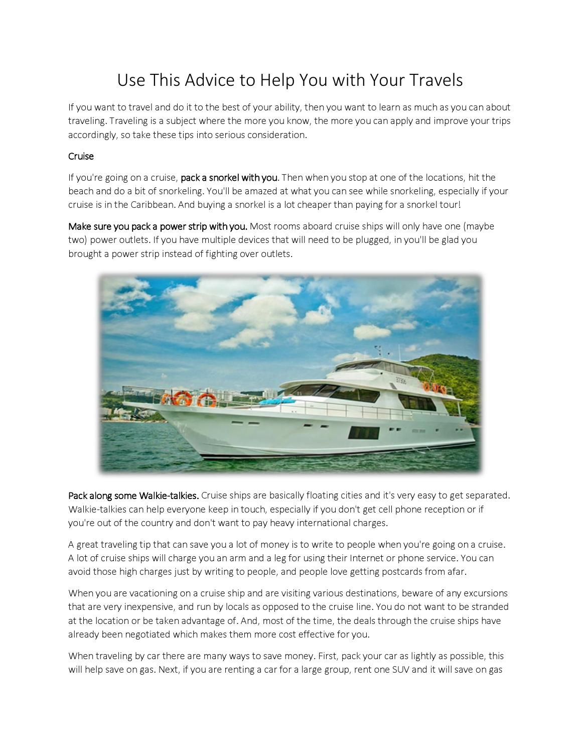 Use This Advice To Help You With Your Travels By Megan Simmons Issuu - Cell phone service on cruise ships