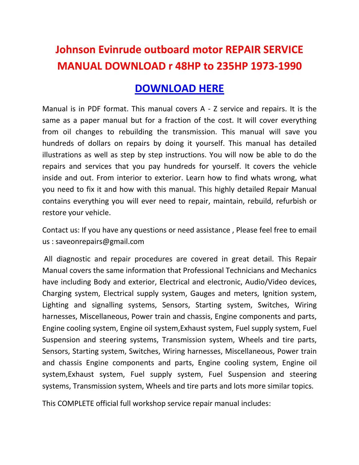evinrude outboard repair manual free download