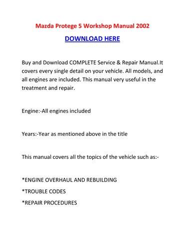 mazda protege 5 repair manual
