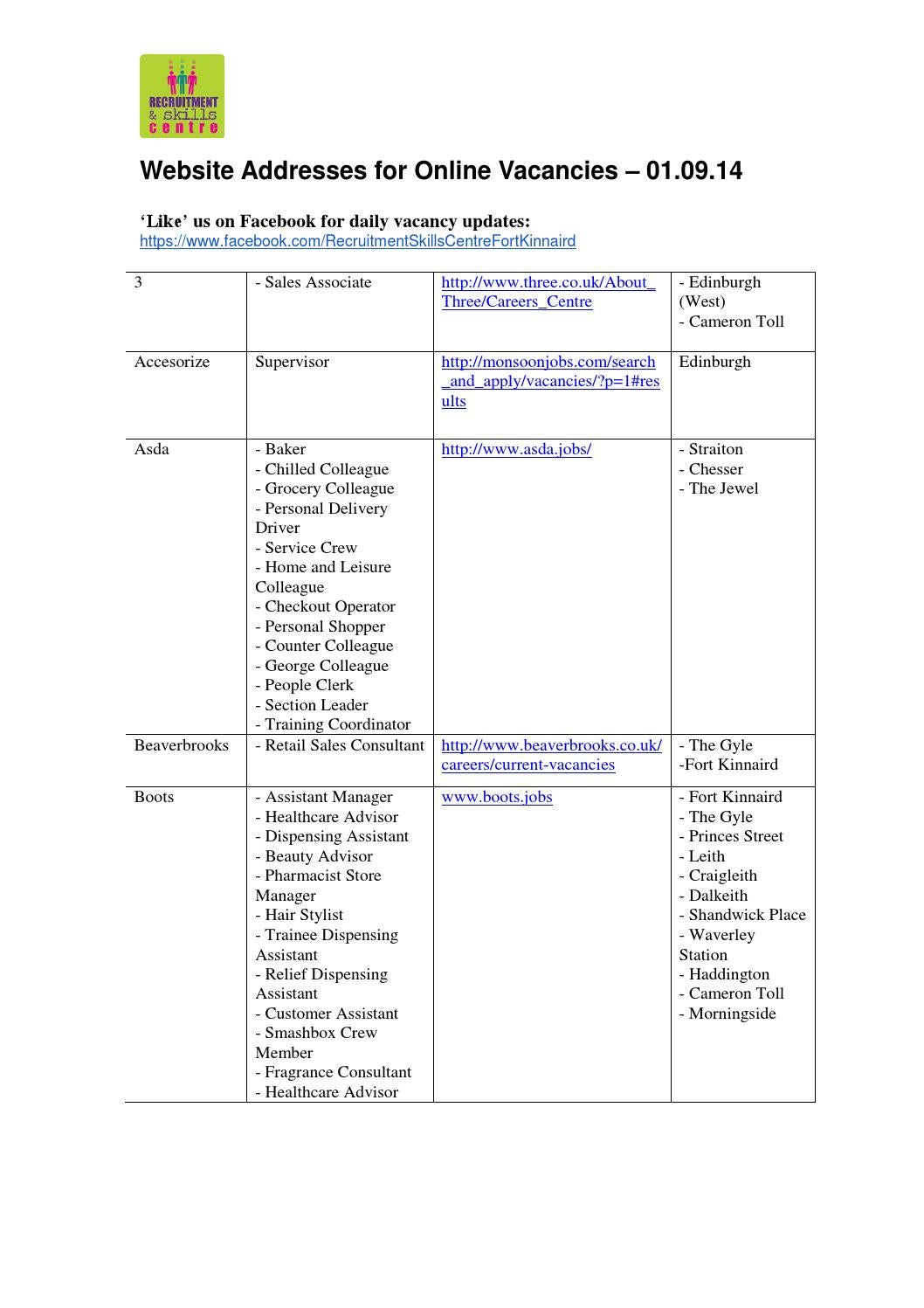 Online retail vacancies 01 09 14 by Preston Lodge High School - issuu