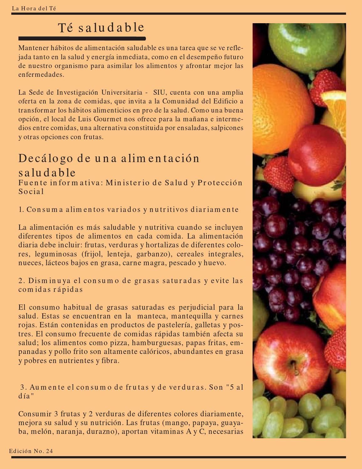diferentes hábitos alimenticios saludables