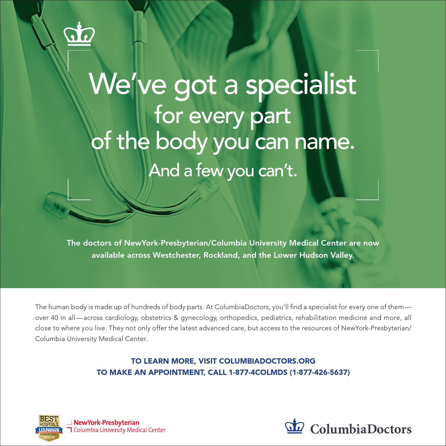 ColumbiaDoctors Westchester Advertising Campaign, 2014 by