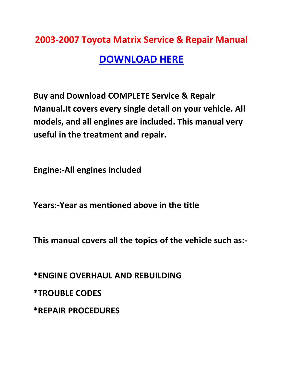 Toyota Matrix Service Manual Download