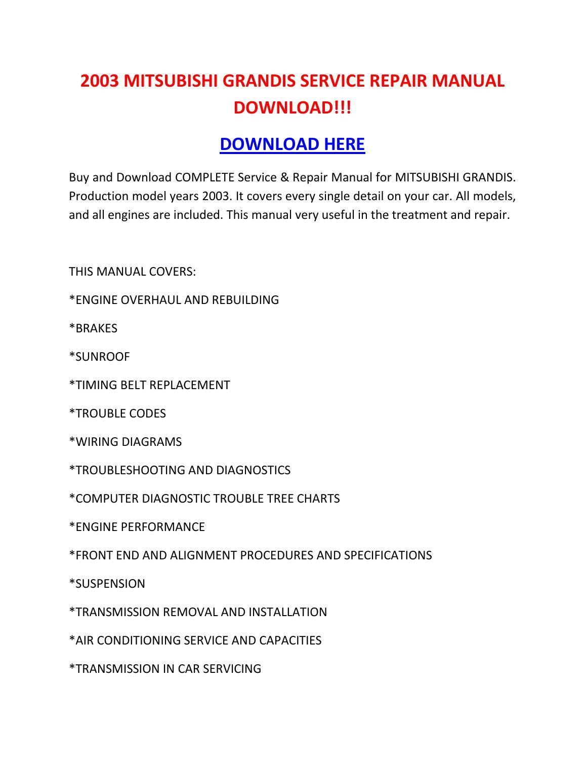 2003 Mitsubishi Grandis Service Repair Manual Download    By Tylerrk