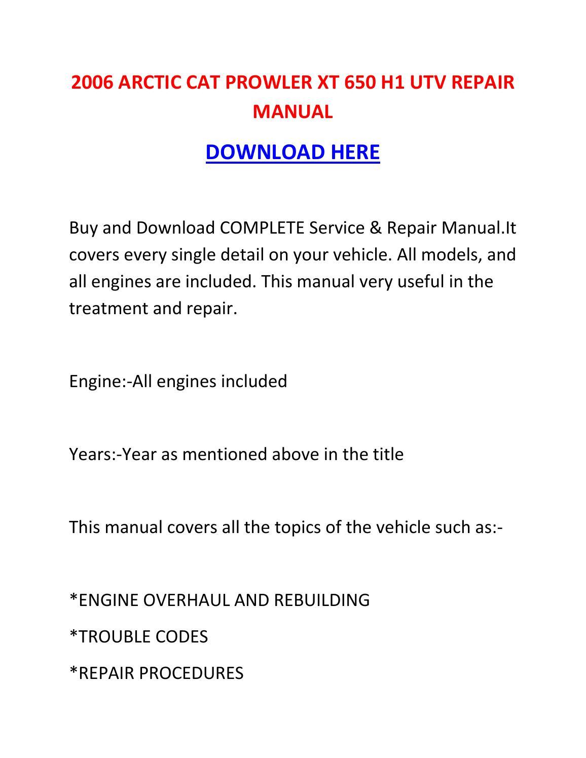 2006 arctic    cat       prowler    xt    650       h1    utv repair manual by