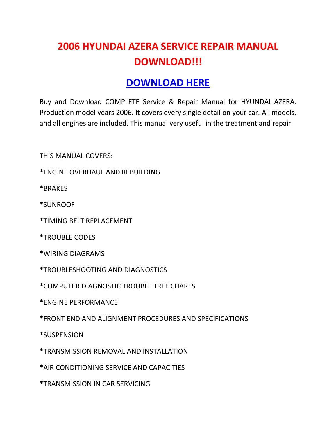 2006 Hyundai Azera Service Repair Manual Download    By Tylerrk