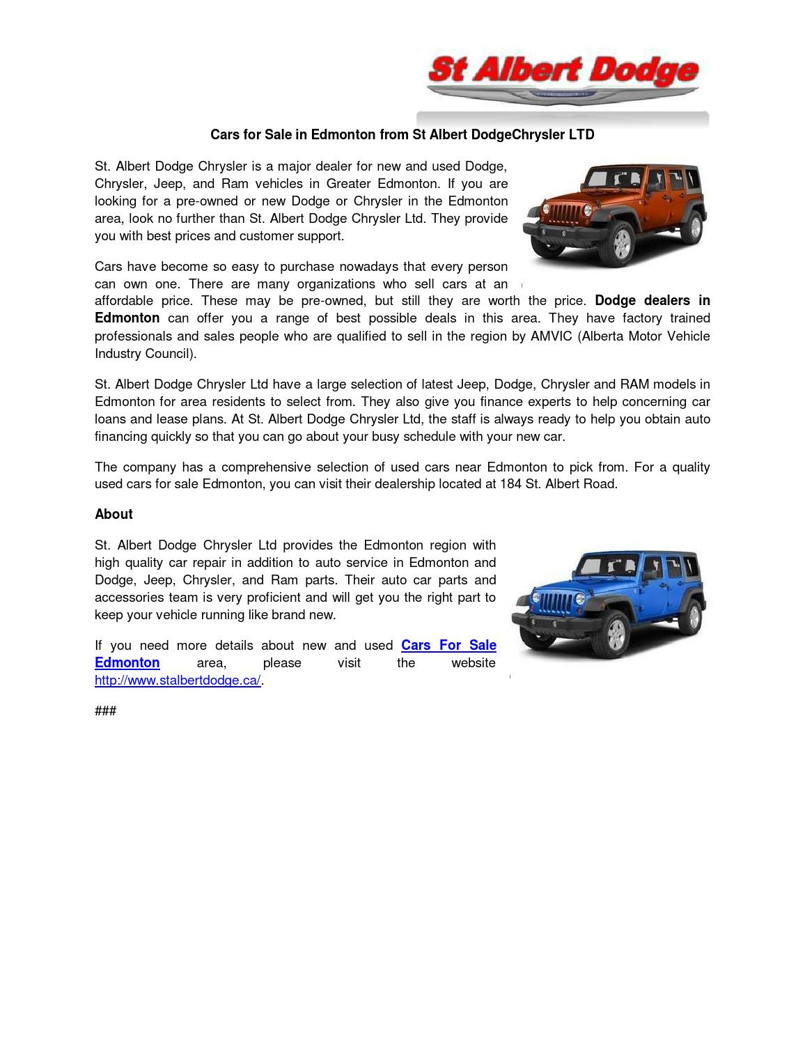 Used Cars For Sale Edmonton by St albert dodge - issuu