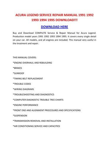 Acura Legend Service Repair Manual 1991 1992 1993 1994 1995 Download By Tylerrk Issuu