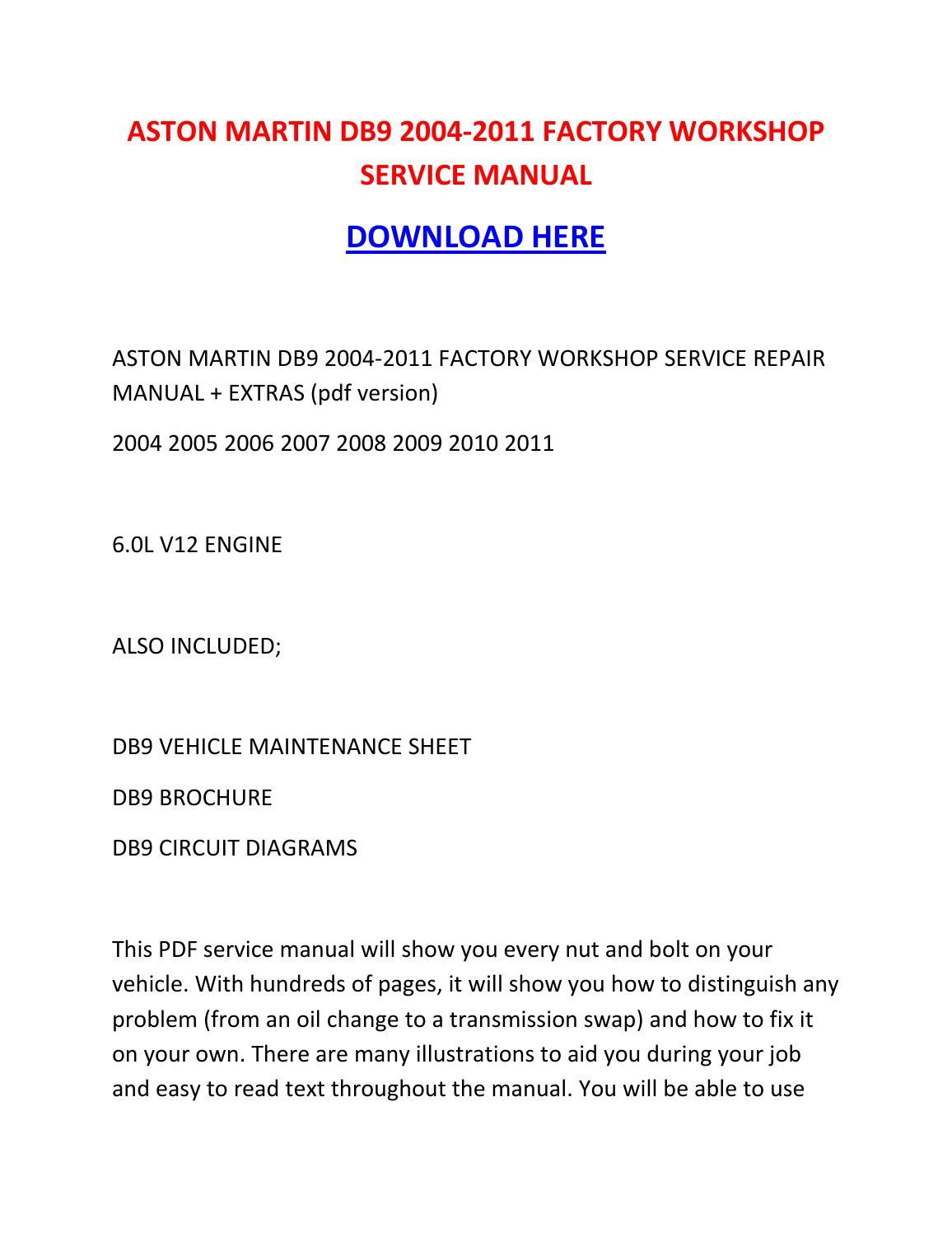 Aston Martin Db9 2004 2011 Factory Workshop Service Manual
