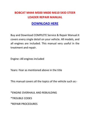 Bobcat M600 service Manual download