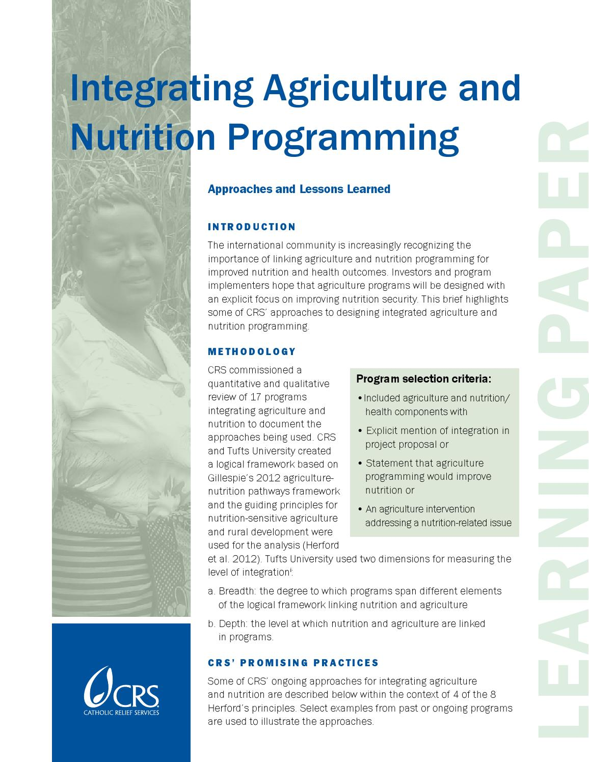 Integrating agriculture and nutrition by catholic relief for Usda rural development alabama