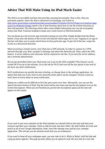 Advice That Will Make Using An IPad Much Easier by
