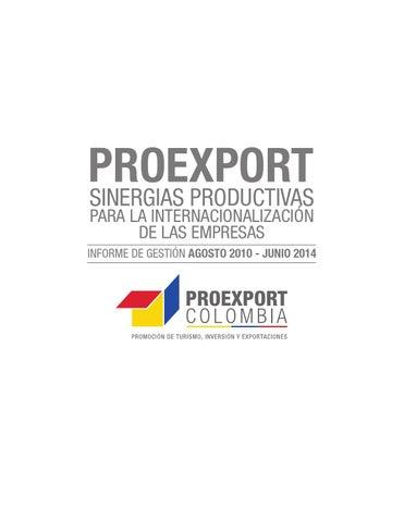PROEXPORT SINERGIAS PRODUCTIVAS PARA LA INTERNACIONALIZACIÓN DE LAS EMPRESAS bd0efb5bb1fa