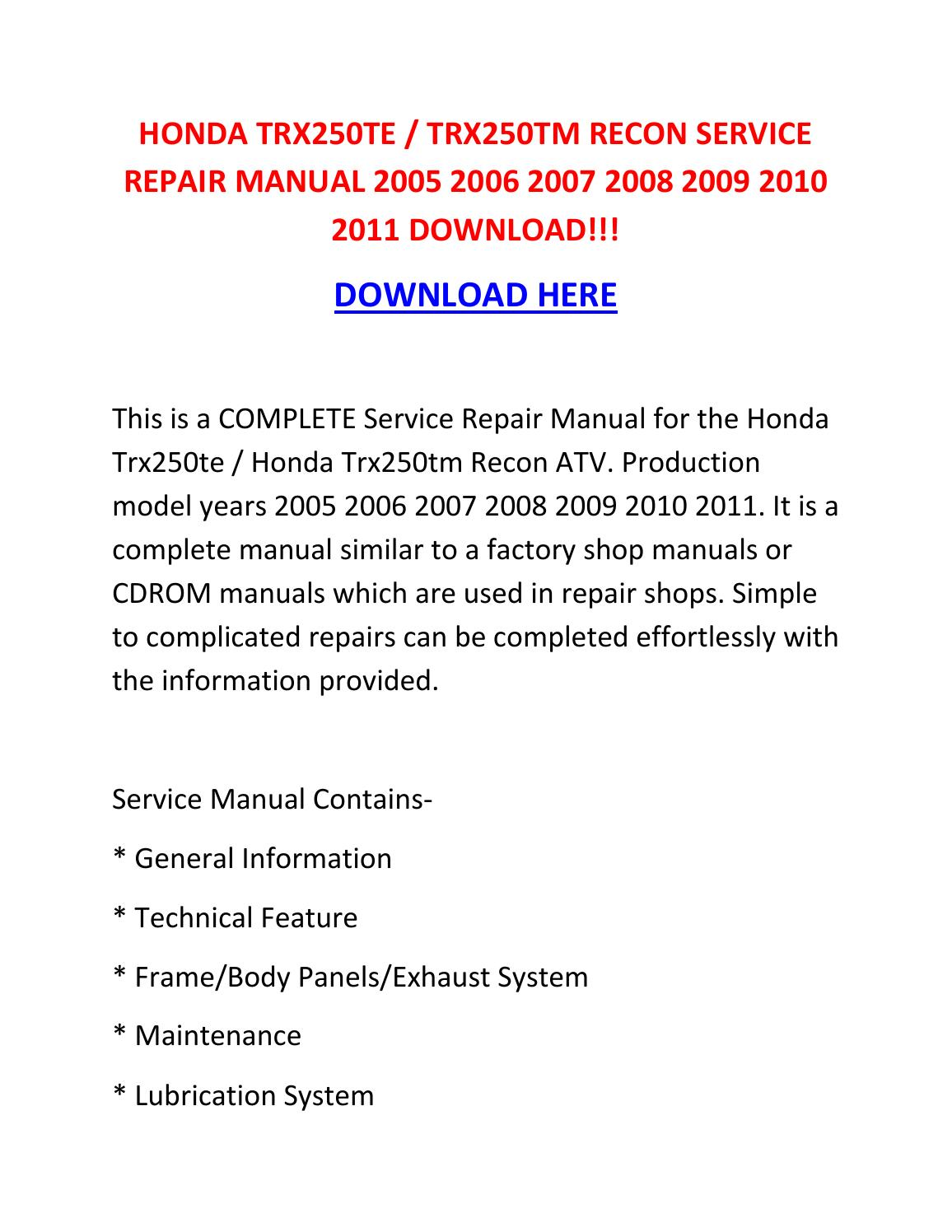 Honda Trx250te Trx250tm Recon Service Repair Manual 2005