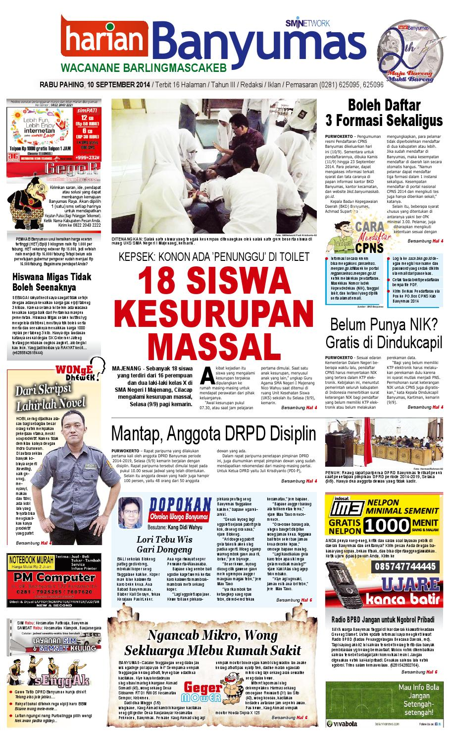 Harian Banyumas 10 September 2014 By Issuu Produk Umk Pnm Mangkuk Batik Uk 23 Cm