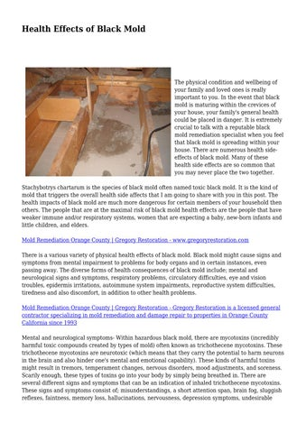Page 1 Health Effects Of Black Mold