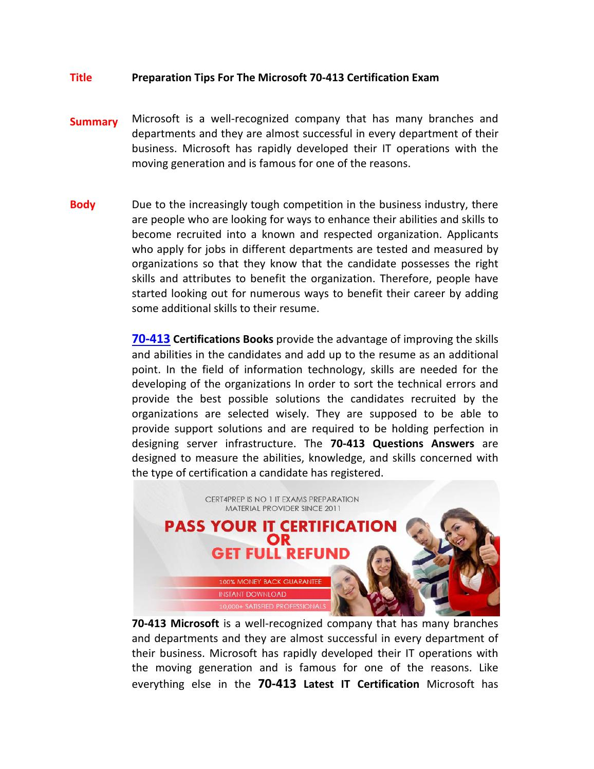 70 413 Certification Test By Danielkirkland78 Issuu