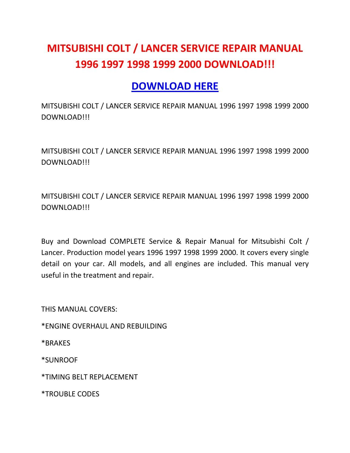 Mitsubishi Colt Lancer Service Repair Manual 1996 1997