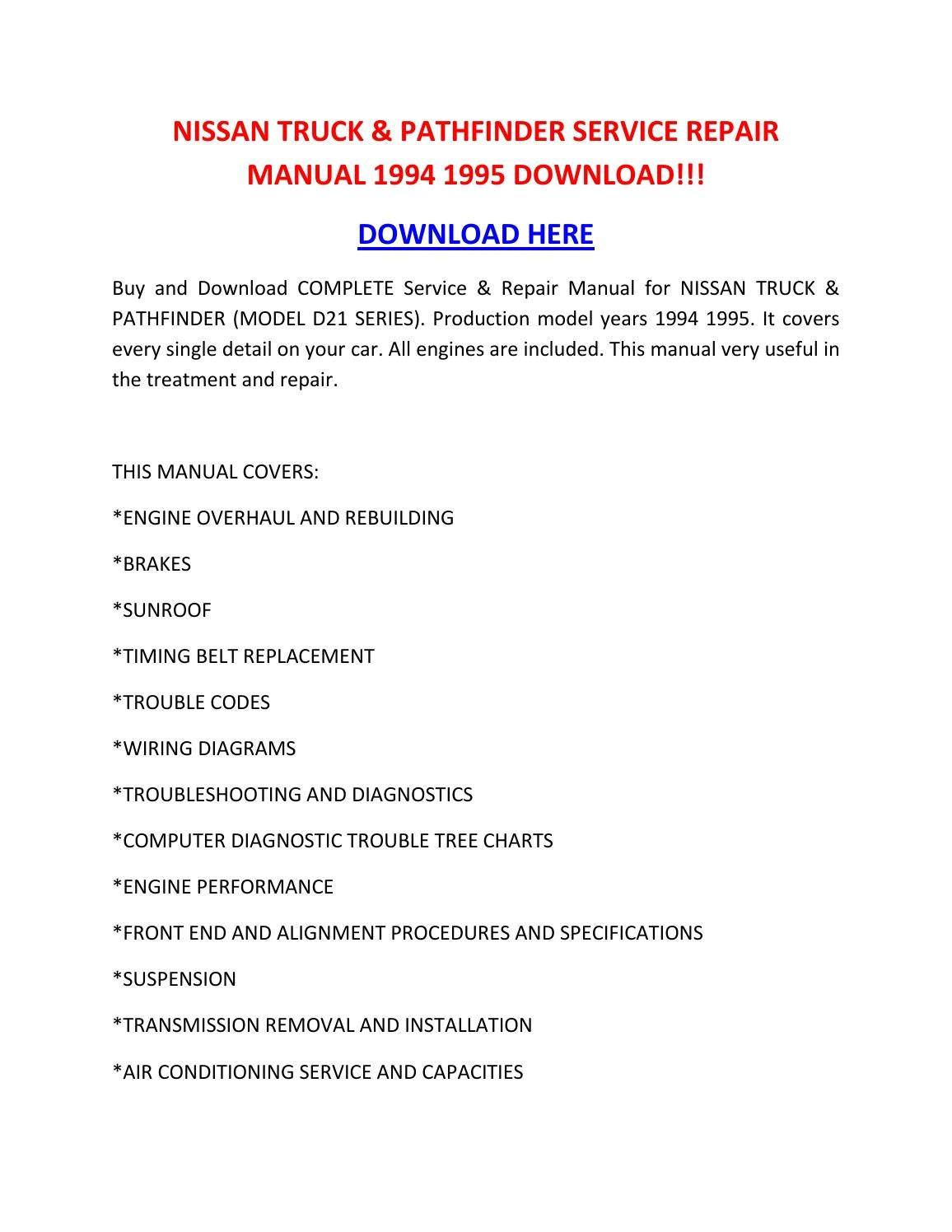 Nissan Truck  U0026 Pathfinder Service Repair Manual 1994 1995