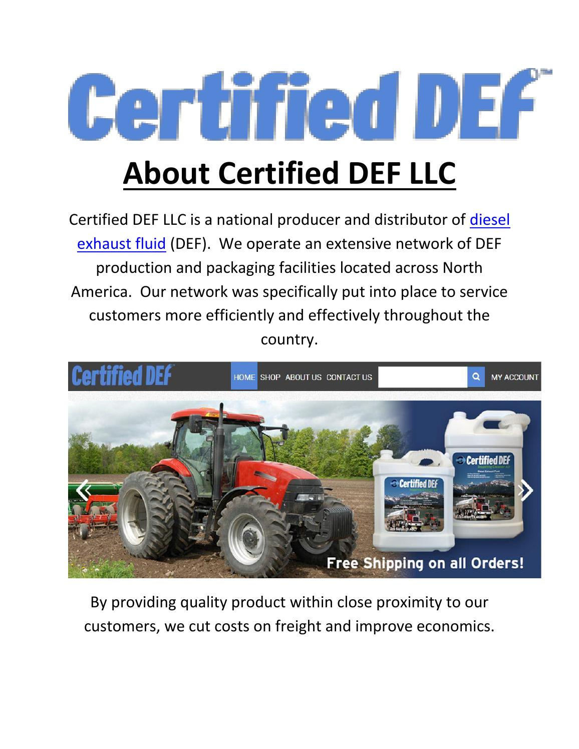 Certified DEF LLC : Diesel Exhaust Fluid Suppliers in
