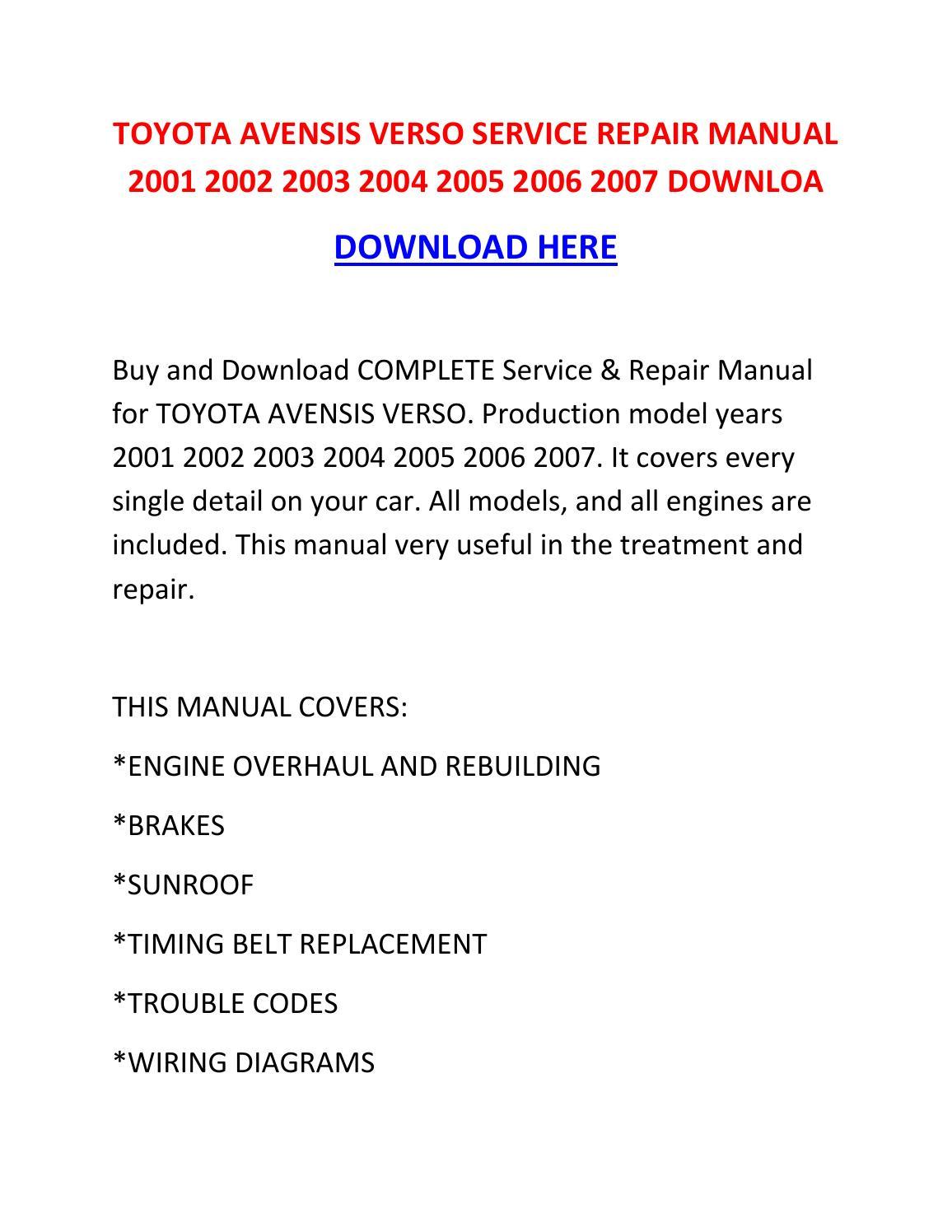 Toyota Avensis Verso Service Repair Manual 2001 2002 2003 border=