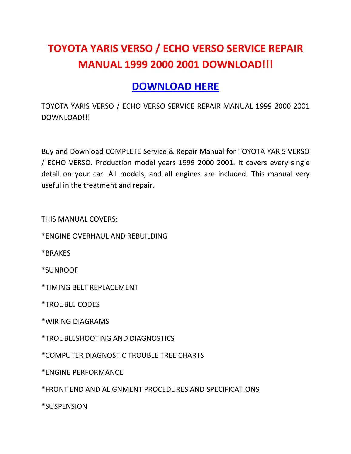 Toyota Yaris Verso Echo Verso Service Repair Manual 1999