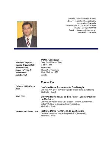Curriculum doctor cesar perozo wong by DiarioRepublica.com ...