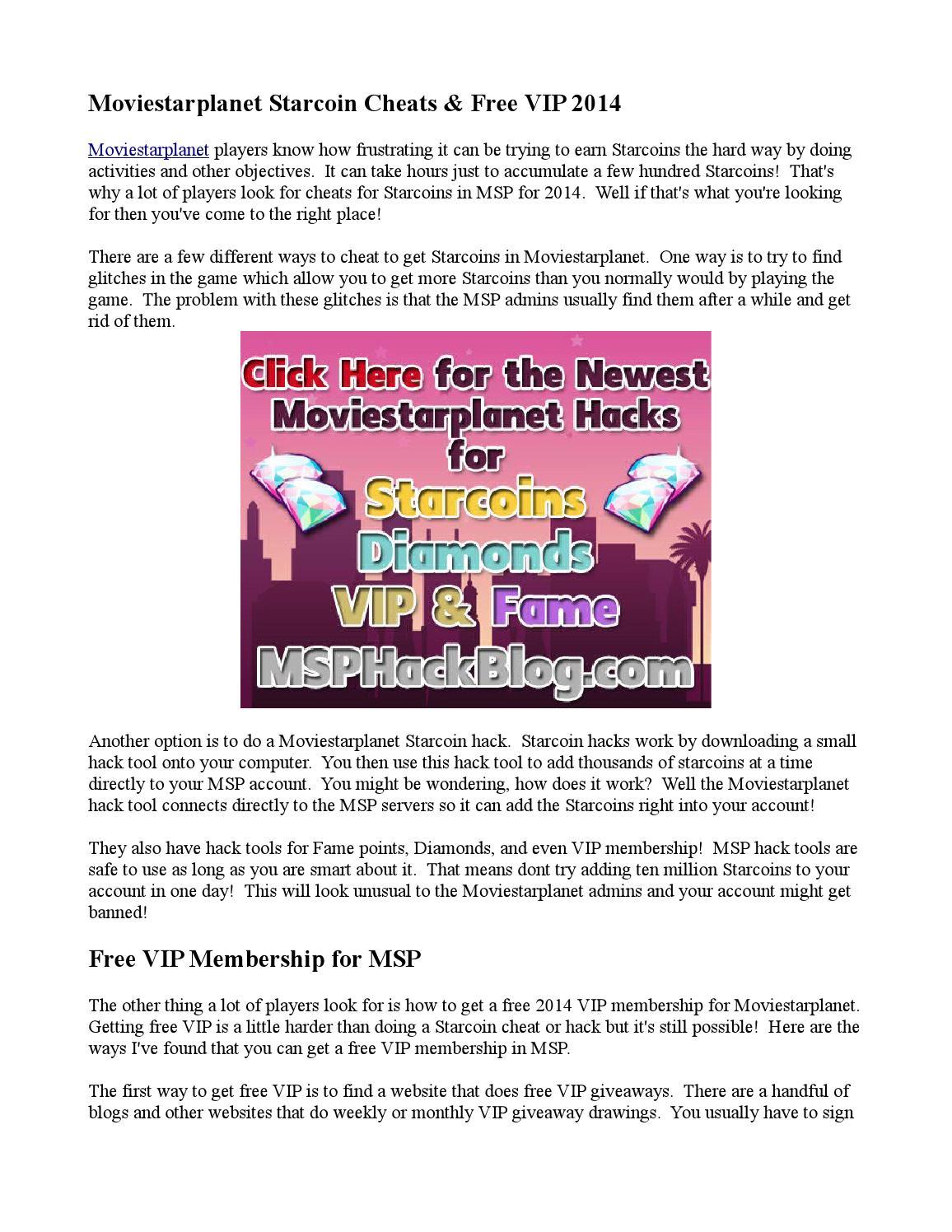 Moviestarplanet Starcoin Cheats & Free VIP 2014