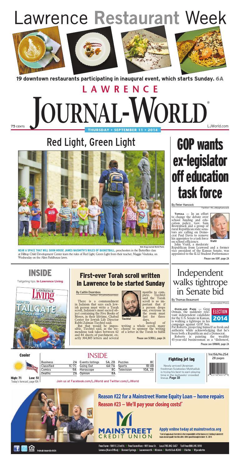 Lawrence Journal World 09 11 14 by Lawrence Journal World